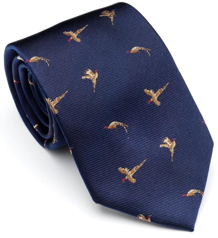 Cravate bleu marine aux vols de faisans Laksen