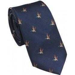 Cravate Laksen vol canard bleu marine