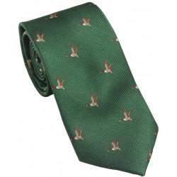 Cravate Laksen vol canard vert