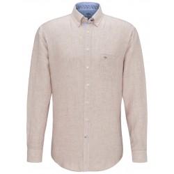 chemise en lin couleur taupe