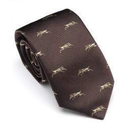 Cravate marron à sangliers...