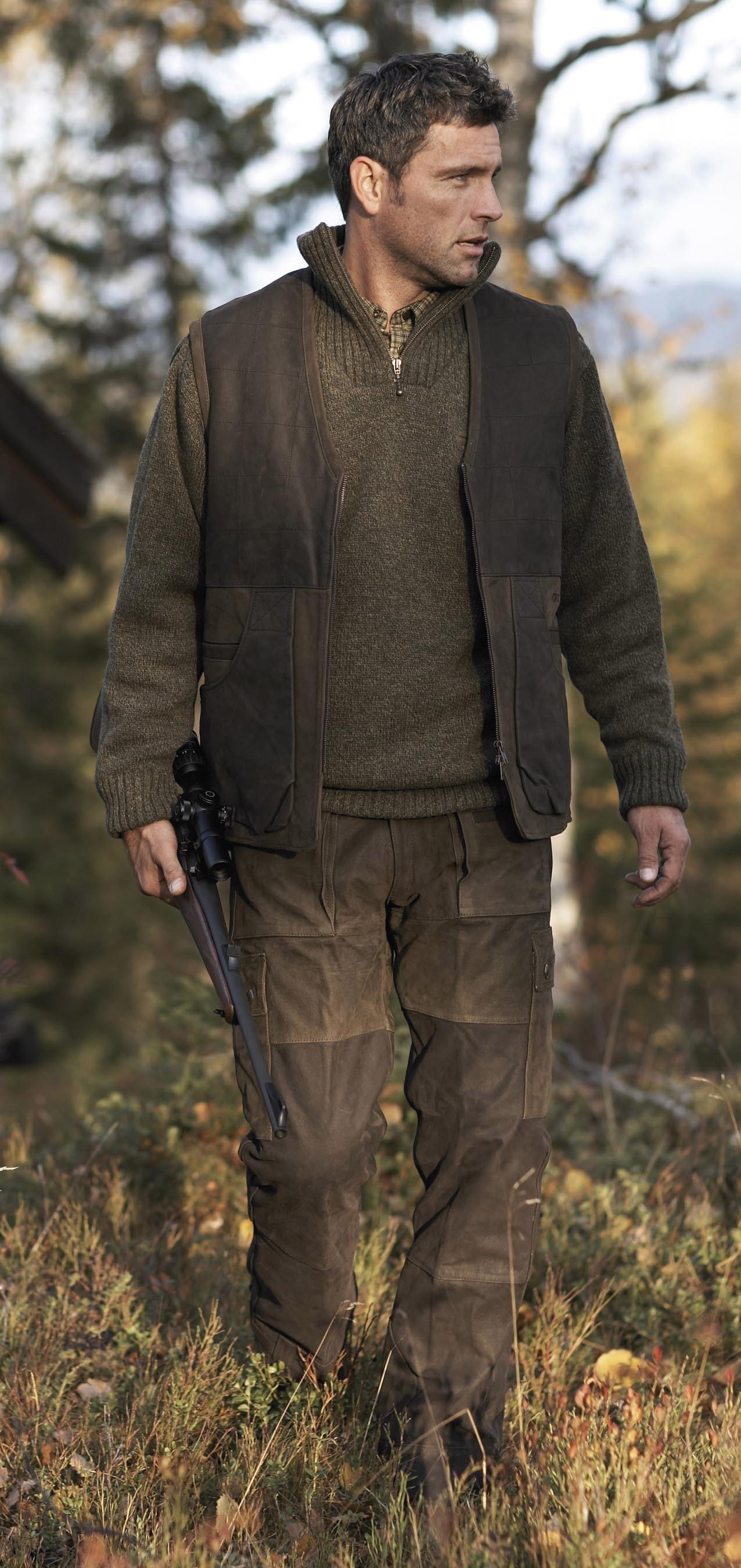 Gilet et pantalon de chasse en cuir Angus Härkila