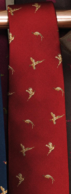 Cravate rouge aux vols de faisans Laksen