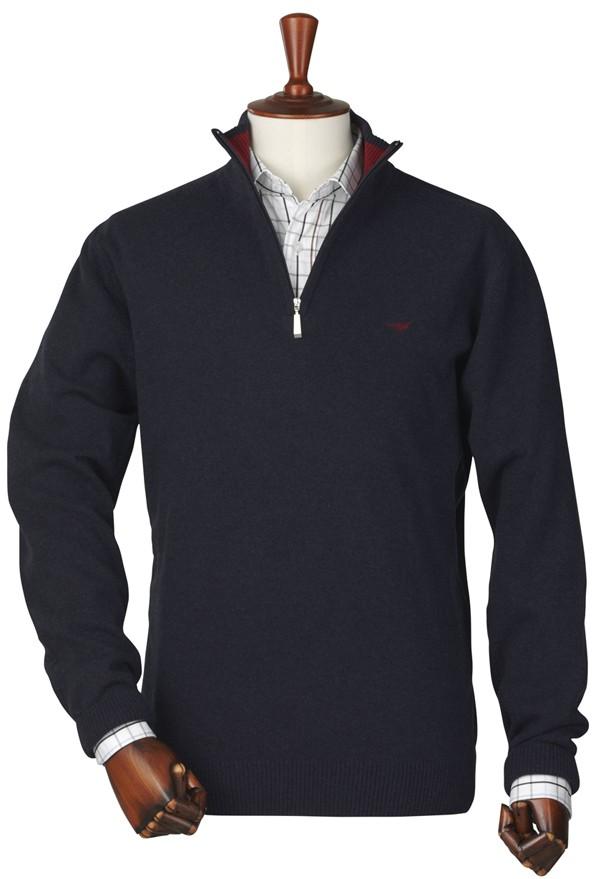 Pull en laine d'agneau bleu marine Lakewood Laksen